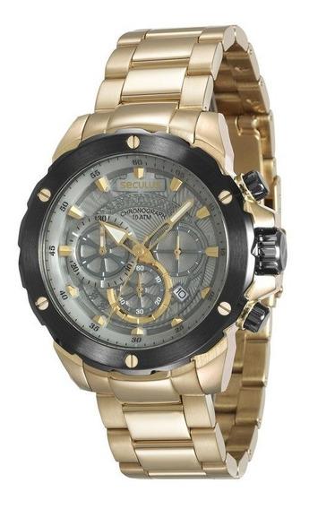 Relógio Seculus Masculino Dourado 13017gpsvda1