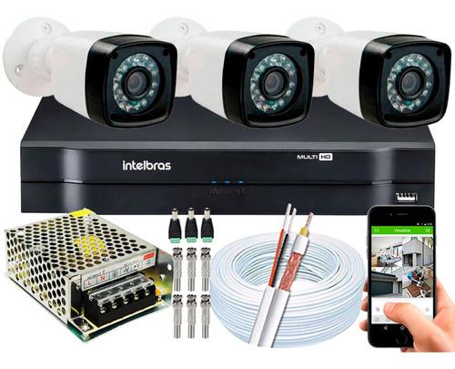 Kit Cftv 3 Cameras Segurança 1080p Full Hd Dvr Intelbras Shd