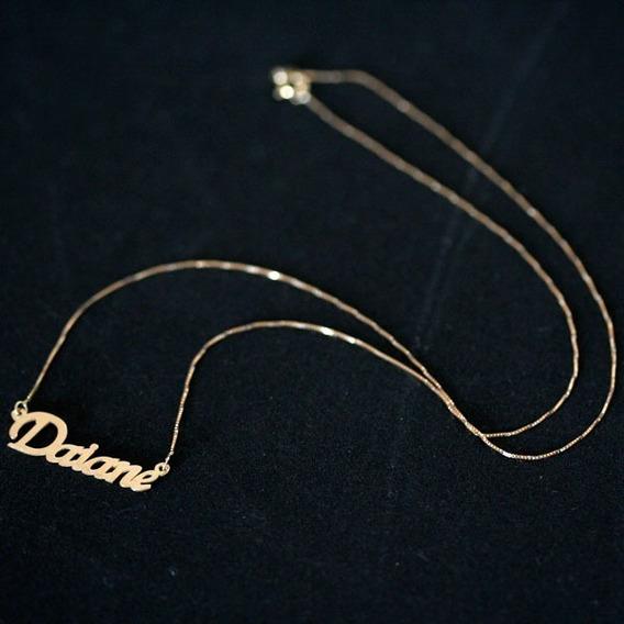 Gargantilha De Ouro 18k 45cm Pingente Nome Personalizado