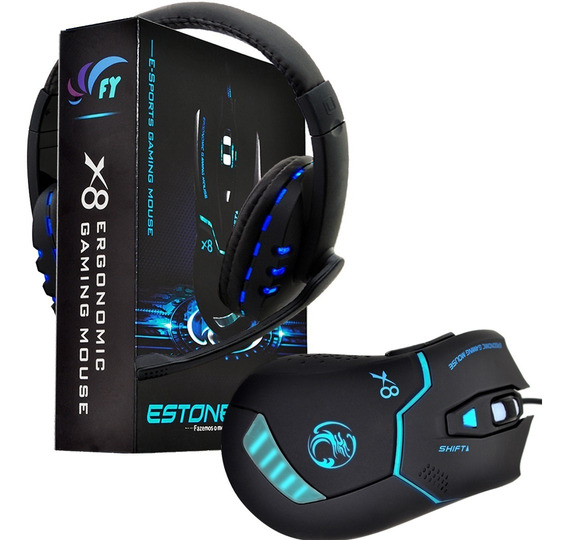 Mouse Gamer Óptico X8 2400 Dpi Usb + Fone Gamer Multicolor