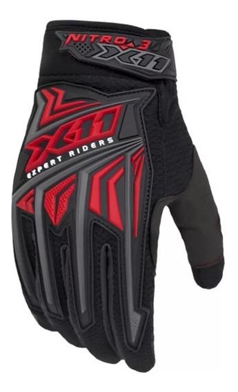 Luva X11 Nitro 3 Masculino Vermelha Motoqueiro Bike Proteção