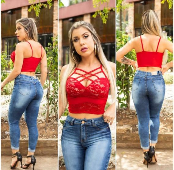 Cropped Top Blusa Curta Renda Com Bojo