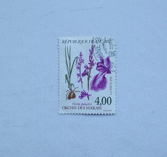 Estampilla Francesa Homenaje A Las Orquídeas De Marais