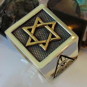Anel Hexagrama Prata + Estrela Em Ouro 18k + Onix Cabochao