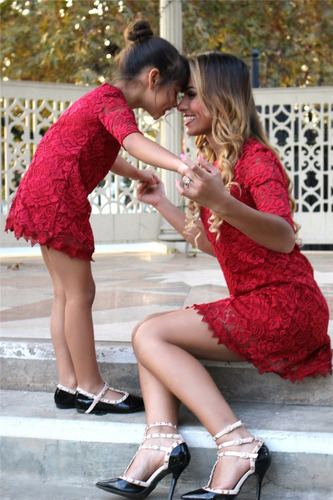 Vestido Rojo Madre E Hija Family Elegante Formal Fiesta **