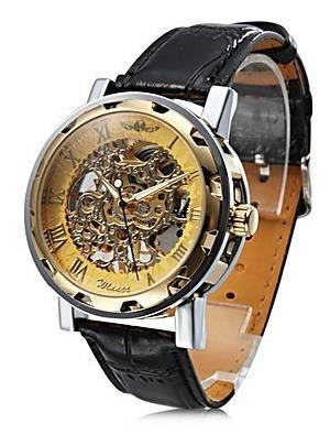 Relógio Mecânico Dourado Super Moderno