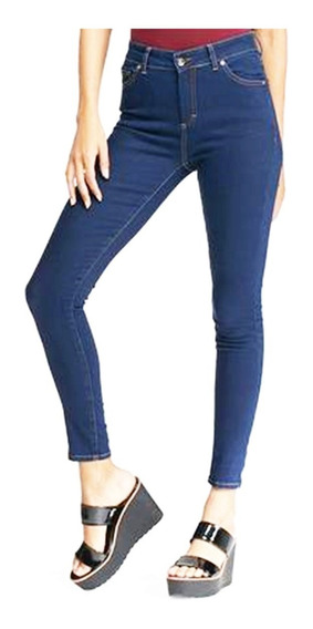 Pantalones Dama Jeans Corte Alto Rasgados