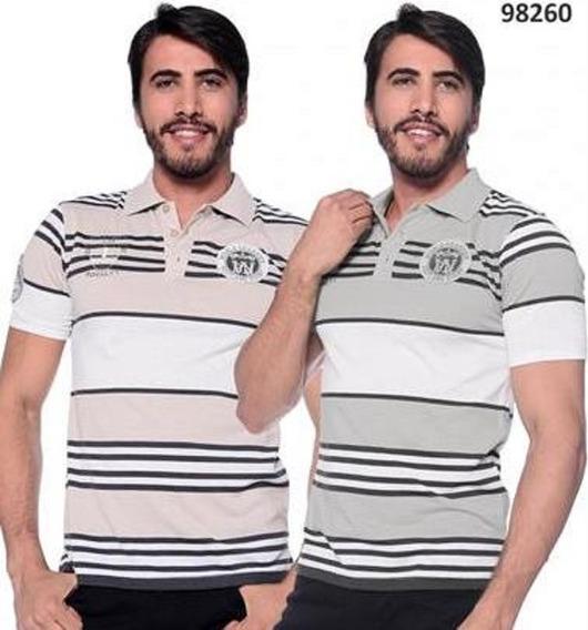 Camisa Polo Masc. Manga Curta - Patch Bordado - Pl-98260