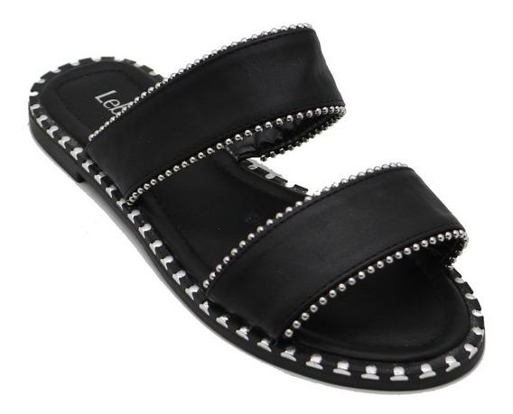 Zapatos Sandalias Mujer Dama Bajas Urbanas Negro Leblu Z149