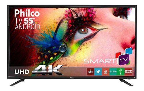 Imagem 1 de 4 de Smart Tv Philco Ph55a17dsgwa Led 4k 55  Tela Queimada
