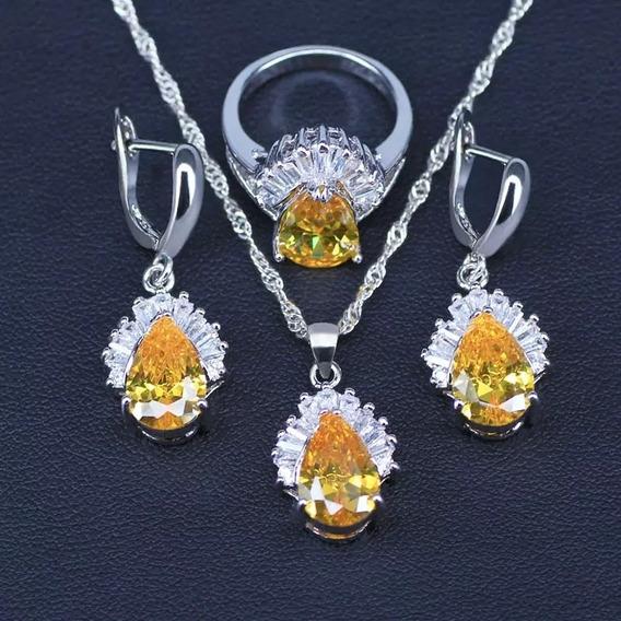 Conjunto Brinco&colar&anel Prata 925 Cristal Zirconia Caixa