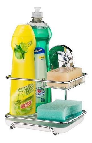 Imagen 1 de 4 de Soporte Para  Detergente Y Esponja Con Ventosa