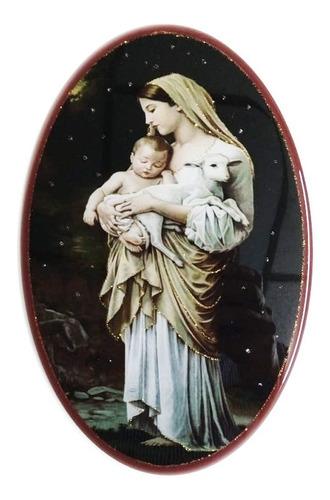 Retablo Madera Y Resina Sagrado Virgen Del Cordero
