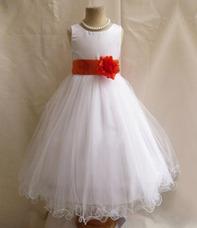 594cfe72fa Vestido Branco Infantil Laço Marsala Festa Daminha Casamento