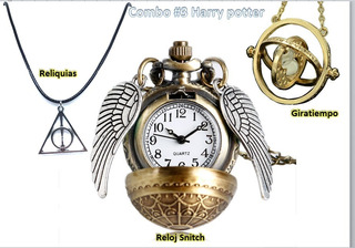 Collar Reloj Snitch Harry Potter + Giratiempo + Reliquias