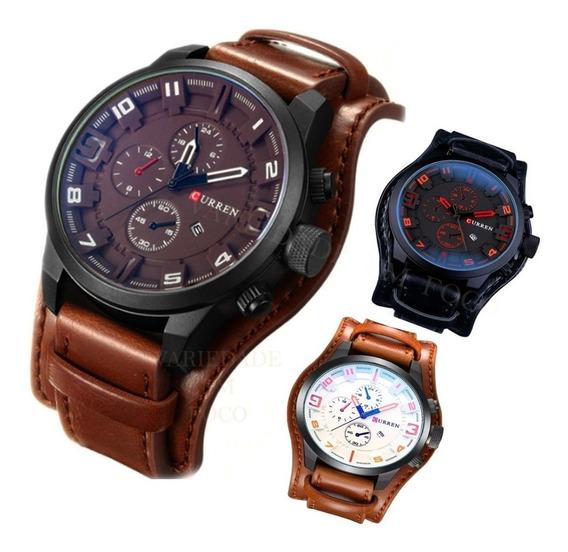 Relógio Curren Social Luxo Couro 8225 Com Caixa Promoção