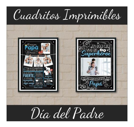 Kit Imprimible Cuadritos Día Del Padre 12 Modelos Editables