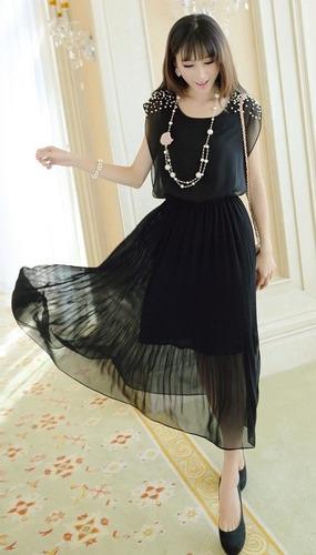 Vestido Elegante De Gasa Importado Nuevo Colores Korea