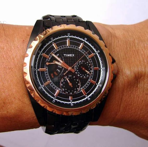 Relogio Timex Ti2n112p Negro E Dourado Elegante Retrô Vintag