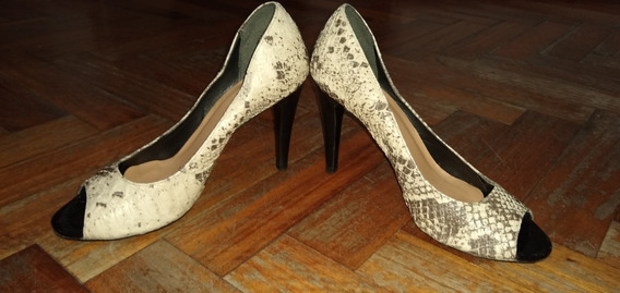 Zapatos Taco Fino De Dama Color Animal Print Talle 36 Usado
