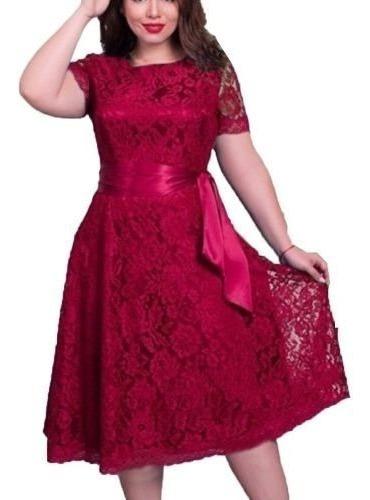 Vestido Renda Festa Civil Noiva Plus Size Vermelh Rodado /26