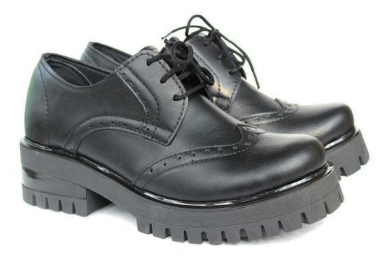 Zapato Mujer Abotinado Bajo Picado Negro 305k