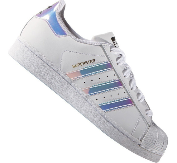 Zapatillas adidas Superstar Dama Bco Tornasolada Originales
