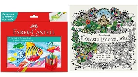 Kit- Livro Floresta Encantada+ Lápis 60 Cores Aquarela Faber