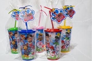 Vasos Personalizados Con Tapas Y Sorbetes (x20) En Bolsita