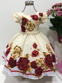 Vestido Princesa Infantil Floral Aniversário Luxo Cod. 738