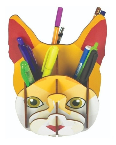 Imagem 1 de 3 de Porta Canetas E Lápis Gato Cabeça Criativo Decoração Pet