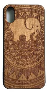 Funda iPhone X / Xs Celular - Elefante Mandala - Madera