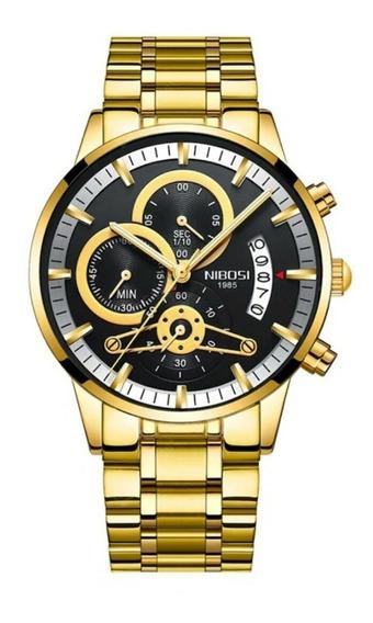 Relógio Masculino Nibosi Funcional Luxo Original + Caixa