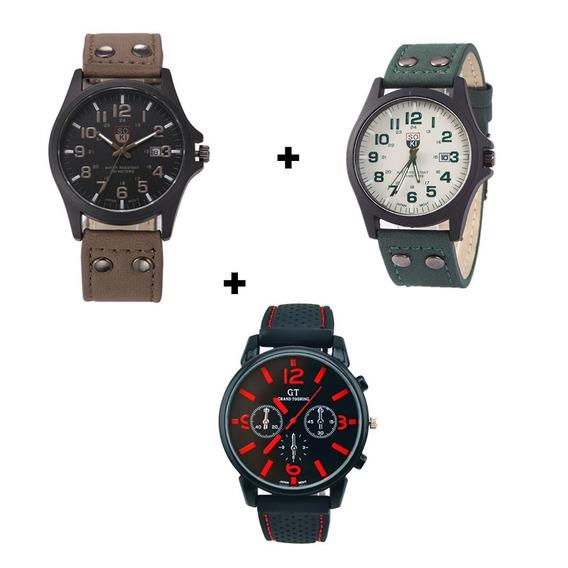 Kit 3 Relógios Masculinos Com Calendário Inovador Oferta Top