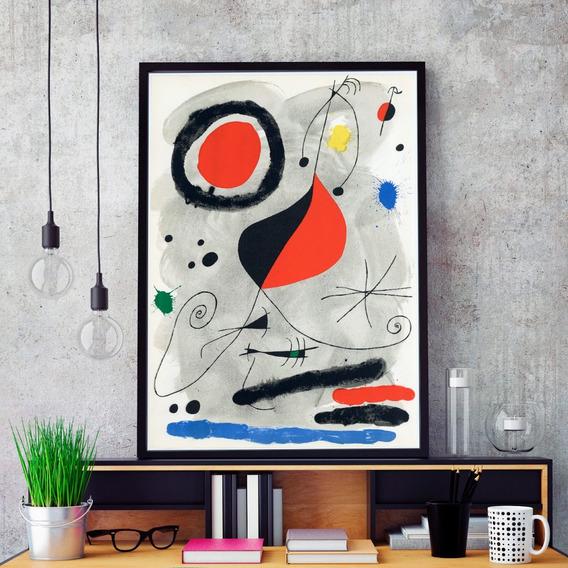 Cuadro Joan Miro 60x90 Enmarcado Negro Blanco Natural