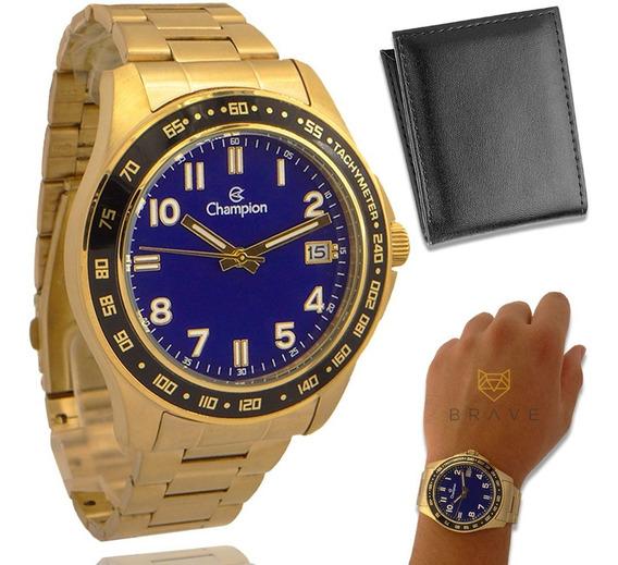Relógio Masculino Dourado Champion Ouro + Carteira Brinde
