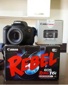 Câmera Canon T6i + Lente 50mm F/1.8 Stm