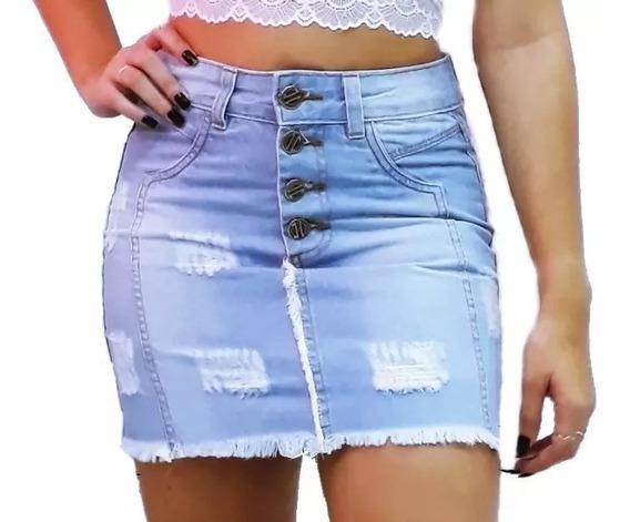 Saia Jeans Sem Botão Zíper Frontal Cintura Alta @espaco.mia