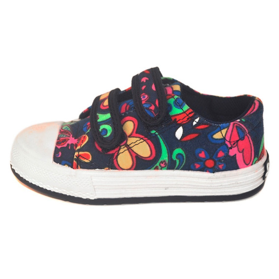 Zapatilla Nena Abrojo Flores Azul Small Shoes