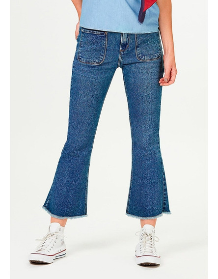 Calça Jeans Feminina Cropped Flare Cintura Alta Hering