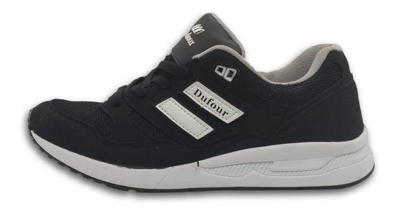 Zapatilla Dufour Oxford Negro Blanco T 36 39 40 41 42 43 44
