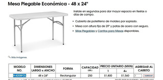 Mesa Plegable Económica - 121 Cm Largo X 61 Cm Ancho