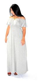 Vestido Longo Babado No Ombro Viscolycra - Plus Size