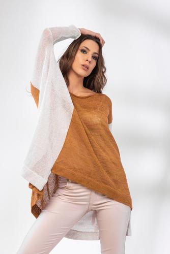 Imagen 1 de 3 de Sweater De Seda, Remerón Tejido, Sweater En Dos Colores.