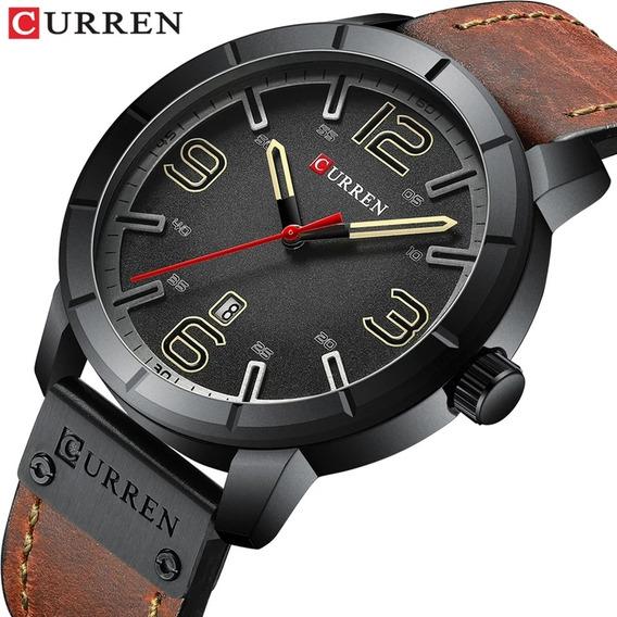 Relógio Esportivo Militar Luxo Curren Quartzo Couro