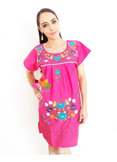 Vestido Dama Mexicano Bordados A Mano Artesanal Tipico