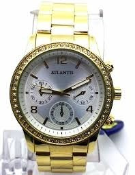 Relogio Dourado Com Brilhantes / Lindo Relogio Atlantis