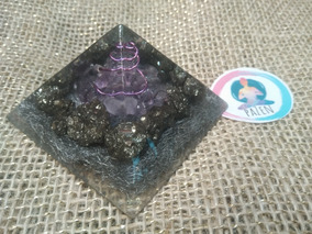 Orgonite Pirâmide Ametista E Pirita Espiritual Prosperidade