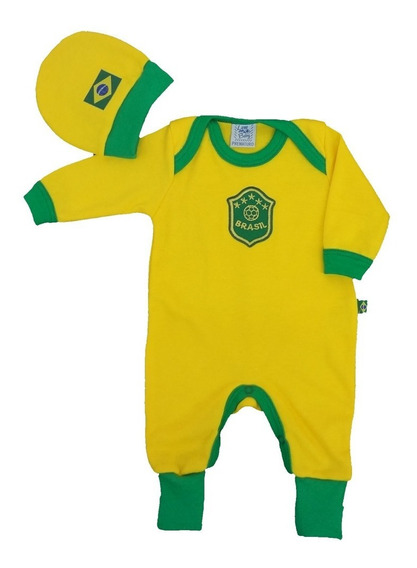 Roupa Bebe Prematuro - Macacão Brasil Copa 2018 - Lene