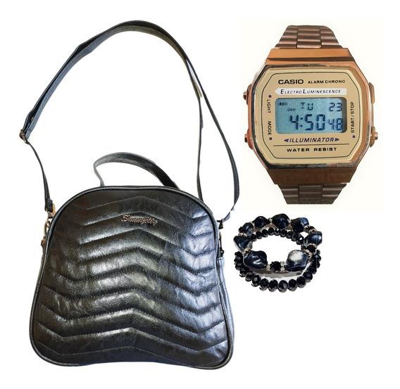 Kit Bolsa Relógio Pulseira Acessórios Feminino Envio Rápido